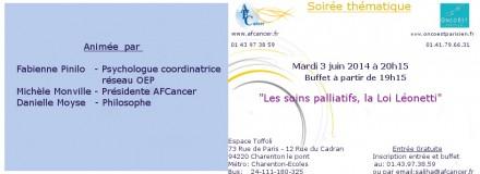 Soirée thématique «Les soins palliatifs,la loi Léonetti» du 3 Juin 2014