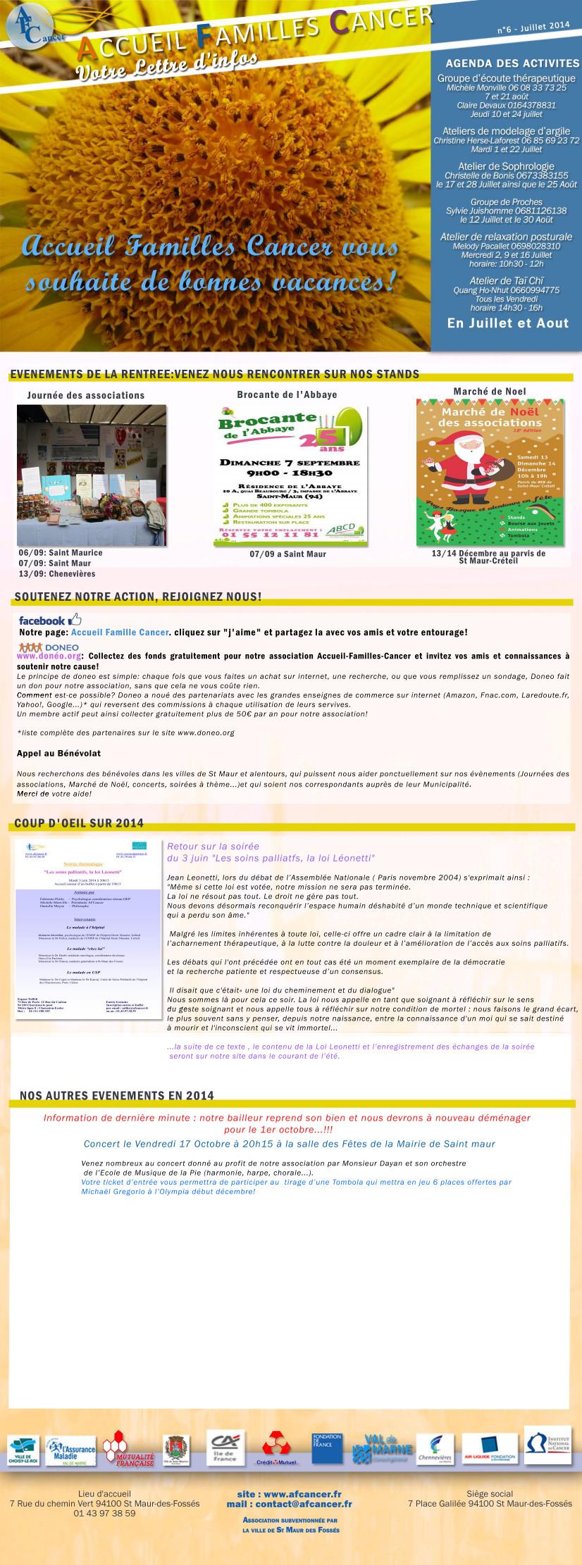 Lettre d'infos n° 6 JUILLET AOUT 2014 copie