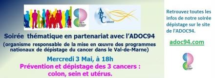 Soirée thématique du 3 Mai 2017 «Dépistage des 3 cancers»